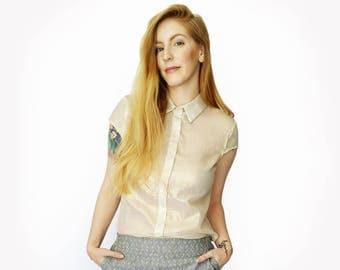 Gold button up shirt, Gold blouse, Golden printed shirt, Women's cotton blouse, Short sleeve button shirt, Summer shirt, Button up blouse
