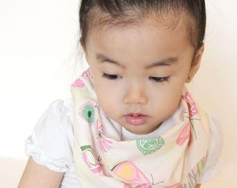 """Modern Bib (Whimsical Garden) All in One Scarf & Bib """"Scabib"""" TM for babies or toddlers"""