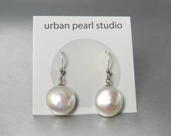 Coin Pearl Earrings Baroque Pearl Drops Flat Freshwater Pearl Dangle Earrings French Ear Wires