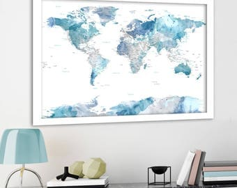 Watercolor world map etsy soft color print highly detailed map cities and state names subtle watercolor gumiabroncs Choice Image