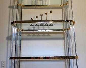 Charles Hollis Jones Lucite and Brass Etagere Hollywood Regency Glass Shelving Unit Mid Century Modern Octagonal 5 Shelf Display