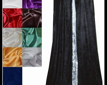 Black Crushed Velvet Cloak lined with a Shimmer Satin of your choice. Ideal for LARP LRP Medieval Cosplay Costume. NEW!