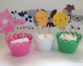 Happy Farm  Animals Cupcake Toppers/Barn Yard Animals/Party Decor/Birthday/Baby Shower