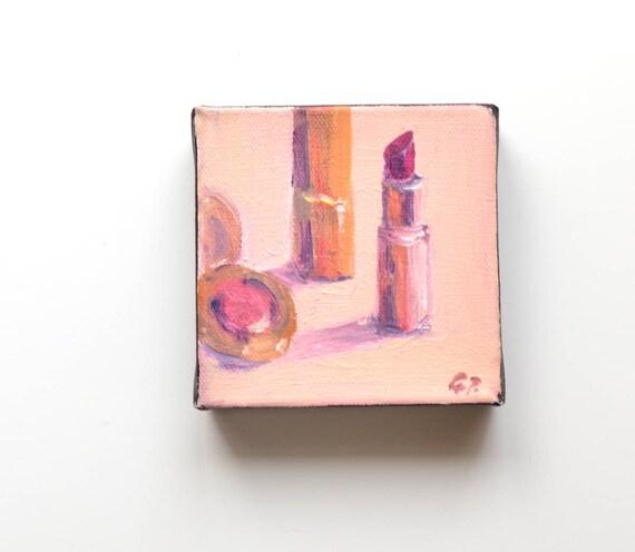 """Lipstick, 4"""" X 4"""" , Oil/canvas"""