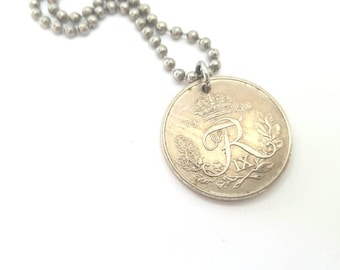 1950 Danish Coin Necklace  - Stainless Steel Ball Chain or Key-chain - Denmark