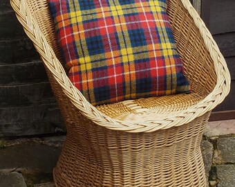 Harris tweed cushion cover bright tartan check plaid decorative pillow hand woven pure wool