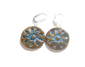 Stoneware Sun Earrings, Earthy Earrings, Natural Jewelry, Brown Aqua, Sterling Silver Leverbacks, Southwest Earrings, Artisan Earrings,