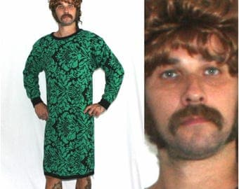 Vintage Full Length Long Sweater Dress. Green And Black Sweater Full Body 80s Womens Fashion Comfy Long Sweater. Regal Womens 80s Fashion