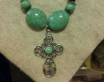 Silver and Turquoise Cross Necklace