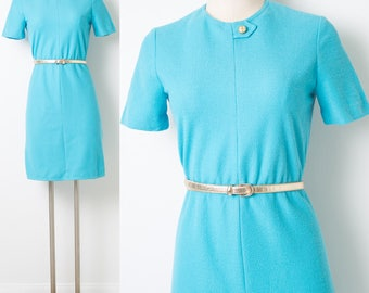 60s Dress, Vintage Turquoise Dress, Mad Men Dress, Vintage Blue Dress, 60s Turquoise Dress, 60s Secretary dress - S/M