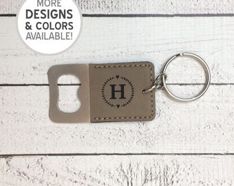 Engraved Bottle Opener Keychain, Personalized bottle opener, Heart Wreath, laser engraved, monogram