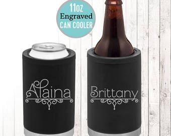 Engraved 11oz Can Cooler, Personalized Can Coolie, Laser Engraved Stainless Steel Can holder, Personalized Travel Cup, Bridesmaid Gift