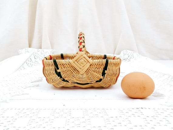 Small Vintage French Woven 1960 Child's Rattan Basket, Miniature Toy Woven Basket, Flower Arranging Accessory from France, Country Decor