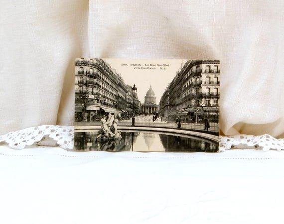 """Antique French Black and White Postcard of Paris  """"La rue Soufflot et le Pantheon"""" Posted in 1915, 100 Year Old French Card, Deltiology"""