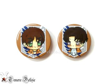Chibi Eren and Rivaille button set of Shingeki no kyojin (2)