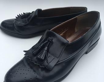 Women's Vintage Leather Tassel Loafers Size 8