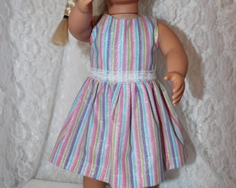 """Ready For Back to School, 18"""" doll clothes to Fit like American Girl, Bright Sparkly Striped Dress with Lace,Sparkly Shoes, Free Shipping"""