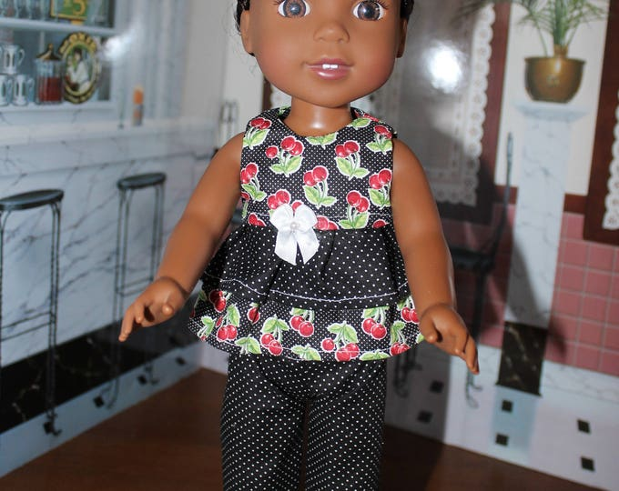 Black Polka Dots , Cherries,  Print Top, Gray Pants, Shoes. Handmade, to fit the Wellie Wisher, Dolls ,and 14 5 inch Dolls, FREE SHIPPING