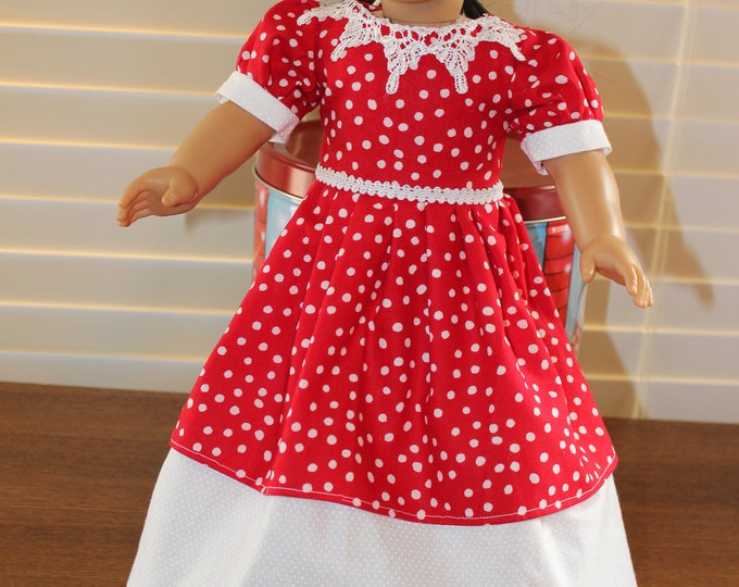 Princes Red Polka Dot,White Floor Length Dress,Matching Shoes made to fit the 18 inch Dolls like American Girl and other Dolls FREE SHIPPING