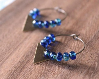 czech glass vintage brass triangle hoop earrings - true blue