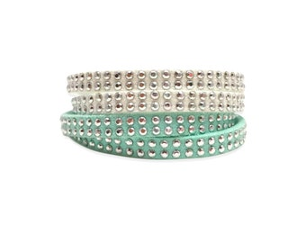 Silver Studded Double Wrap Bracelet, White or Teal