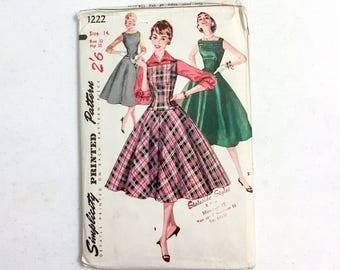 "1950s printed dress, jumper + blouse pattern * Simplicity 1222 * vintage size 14 bust 32"" waist 26"""