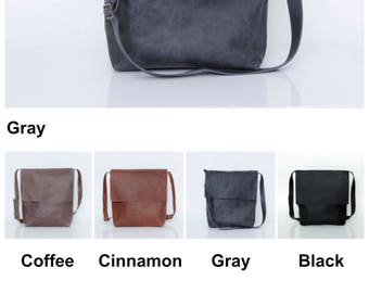 Leather Laptop Bag, Gray Leather Messenger Bag, Crossbody Bag for Women, Personalized Bag, Laptop Messenger Bag, Handmade Leather Bag Women