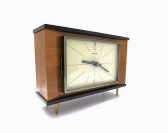 Mid Century table clock | Hermle Germany | chime bell strike movement