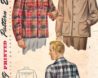 Vintage 40's Mens Shirt Pattern Size Medium Chest 38 40 Straight Hem Simplicity 1961 Sewing Pattern Printed Complete