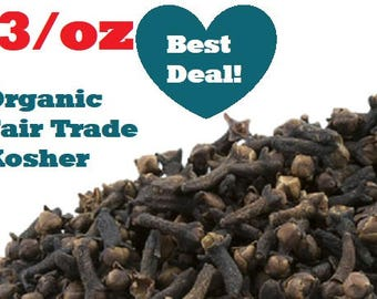 Organic CLOVES - 1oz - Syzygium aromaticum, dried whole, ounce herbs, fair trade, kosher, non-GMO
