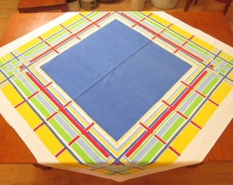 "Vintage Printed Tablecloth, Square Table Cloth 49"","