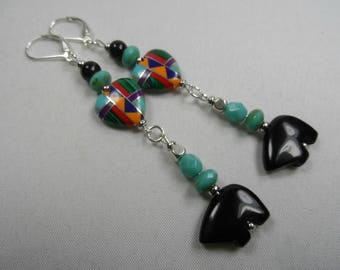 """Southwest Native American Sterling Silver Earrings with Inlayed Hearts and Black Zuni Fetish Bears - 3.5"""" length"""