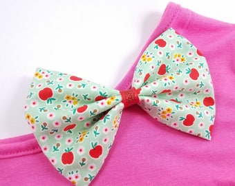 Back to School Hair bow, Fabric Bow, Bowtie bow, Apple Bow, Mint Bow, School Bow, School Headband, Apple Accessories, Red Apple, Flowers Bow