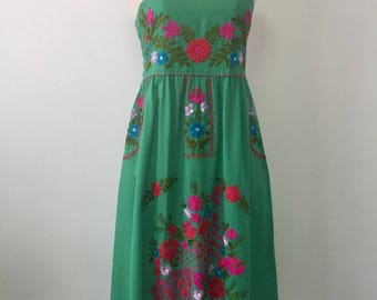 Embroidered Mexican Sundress Cotton Strapless Dress In Green, Beach Dress, Swim Cover Up, Boho Dress
