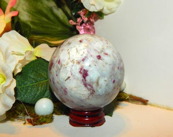 Amazing Red Rubellite Tourmaline in Granite sphere 62 mm with stand - Reiki Wicca Pagan Energy-work Tool
