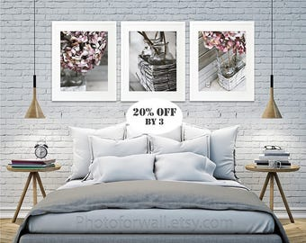 Set Of 3 Hydrangea Photographs Bedroom Living Room Bathroom Decor Shabby Chic Wall Decor Bathroom