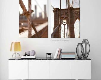 Set of 2 prints Brooklyn Bridge photos/Large canvas art/New York photography/Office decor/large wall decor/New York city poster/NYC print