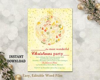 Christmas Party Invitation Card, Printable Holiday Card Template Holiday Party Card Rustic Christmas Card Editable Stars Gold Red DIY - CH5