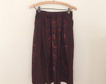 Paisley Wool Dirndl Skirt- 1980s