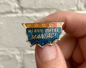 Vintage Funny Lapel Pin or Hat Pin - Heavy Metal Maniac!