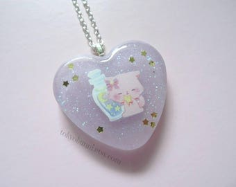 Kitty Magical Stars Moon Lavender Heart Pendant  Necklace -Kawaii -Fantasy -Pastel Goth -Sweet Lolita-Fairy Kei -Lolita