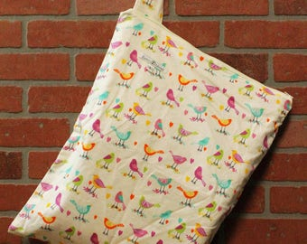 Cloth Diaper Wetbag, Birds, Flannel, Diaper Pail Liner, Diaper Bag, Day Care Size, Holds 12 Diapers, Size Large with Handle #L131