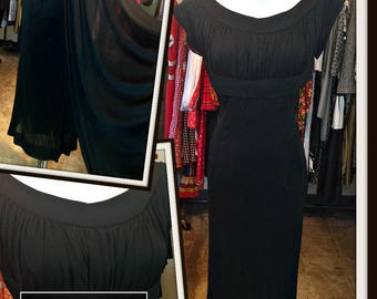 Vintage Black Jersey Cocktail Dress FREE SHIPPING