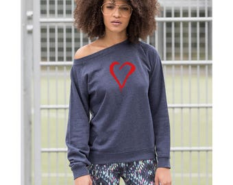Ladies heart sweatshirt, casual women sweat, navy jumper, valentine top, heart shaped