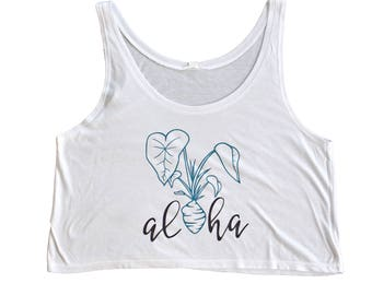 Aloha Kalo Baggy Tank // aloha tank top, aloha shirt, hawaiian shirt, vacation shirt, beach shirt, hawaii shirt, bachelorette
