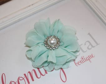 Aqua Large Chiffon Flower Clip with Pearl Button