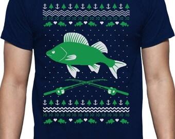 Fishing Ugly Christmas Sweater Gift for Fishermen Xmas T-Shirt