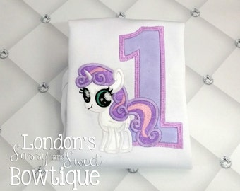 Birthday Sweetie Belle Number Appliqué T-shirt! Perfect for Birthdays!! Embroidered T-shirt/ Toddler T-shirt