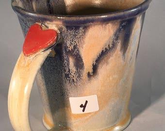Sacred Heart Coffee Cup, Valentine Mug, pottery mug