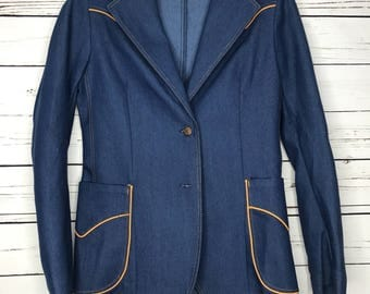 Ladies denim 70's blazer jacket
